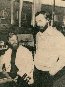 Figure 2. Piot (on the right), at the Institute of Tropical Medicine, Antwerp, in 1976